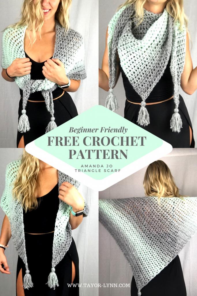 crochet Triangle Scarf, crochet pattern, free crochet pattern, crochet pattern free