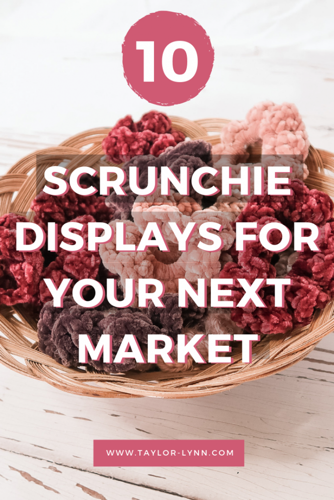indoor market setup, market setup, craft display, craft setup, craft booth, craft fair, craft fair booth, knitwear, crochet, scrunchie, crochet scrunchie, knit, knit scrunchie, crochet scrunchie display, scrunchie display